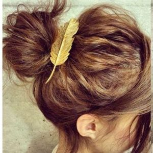Accessories - 3/$20...Gold Feather Hair Clip Barrette
